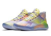 yüksek kaliteli kd ayakkabı toptan satış-Yeni Yakınlaştırma KD 12 Basketbol Ayakkabı EYBL Şeftali Jam Dub Ulus Kurt Gri Gri Yüksek Kalite Kevin Durant Trainer Sneakers Boyutu 7-12 Çimento