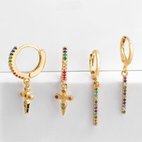 Wholesale cross earring jewelry for sale - Group buy Small Hoop Earrings Women Colorful CZ Paved Rainbow Charm Cross Pendant Jewelry Aretes Dainty Huggie Gold Color Earring MZ051