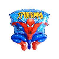 balões de folha de alumínio venda por atacado-Cartoons Balões de alumínio Spiderman balão vermelho para suprimentos decoração de festa de aniversário de casamento Cartoons Foil partido Balloon