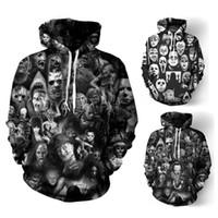 crânio hoodies homens venda por atacado-Hoodies de grife para Padrão Men Moletons crânios 3D amantes Mens Ogreish Hoodie Tops Vestuário S-5XL Atacado