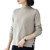 Wholesale wool jersey mujer for sale - Group buy Women s Sweater Autumn Winter Button Color Matching Knit Short Hollow Long Sleeve Casual Warm Loose Wool Sweater jersey mujer