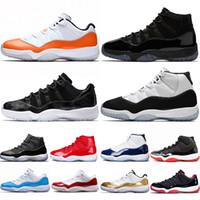 tapas de aire rojo al por mayor-Nike Air Jordan 11 Retro 11 11s New Cap and Gown Prom Night Hombre 11 11s Zapatillas de baloncesto Zapatillas Iridescent UNC Gym Red Space Jam 45 Concord Sports Sneakers