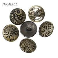 17 mm düğmeler toptan satış-Kot düğmesi Hoomall 30 Adet 17mm Dikiş Kot Düğmeleri Çiçek Dekoratif Desen Metal Düğmeler Karışık Dikiş Aksesuarları Bronz Ton