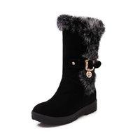 sapatos de cor sólida venda por atacado-Calçados Femininos / Salto Plano / Inverno / Noite de Festa / Botas de Meio / Calçado / Dedo Redondo / Sólido / Camurça / LoaferFashion boots