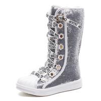 zapatos de lentejuelas para niñas al por mayor-Lentejuelas Pu cuero niño niño zapatos impermeables niños botas de nieve transpirables niñas niños fondo de goma moda invierno botas bebé