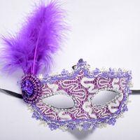 máscaras de meio olho venda por atacado-1 pc Mulheres Sexy Venetian Lace Feather Flor Máscaras de Halloween Masquerade Máscara Meninas Meia Face Máscara de Dança Do Partido