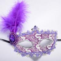 Wholesale halloween feather eye masks resale online - 1pc Women Sexy Venetian Lace Feather Flower Eye Masks Halloween Masquerade Mask Girls Half Face Party Dance Mask