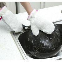 Wholesale fiber dish resale online - Hanging kitchen Chores Cleaning Gloves Kitchen Tools Plus Velvet Fiber Dishwashing Gloves Waterproof Oilproof Pot Durable Gloves BH576 TQQ