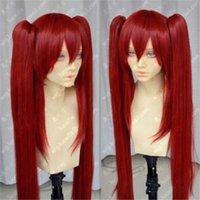 volle pferdeschwanzperücken großhandel-Art- und Weisefrauen-Spitze-roter Pferdeschwanz gerade langes synthetisches Haar Cosplay volle Perücke