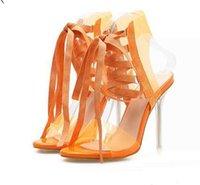 ingrosso tacco di nozze arancione-Moda arancione bianco pizzo chiaro tacchi alti sposa scarpe da sposa di lusso tacchi sandali donna taglia 35 a 40
