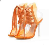 encaje claro hasta zapatos de boda al por mayor-Moda naranja blanco encaje hasta tacones altos claros zapatos de novia de boda tacones de lujo para mujer sandalias tamaño 35 a 40