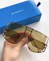 Wholesale large decorative frames resale online - New fashion avant garde sunglasses FENTY special design large frame protection square goggle top quality light color decorative eyewear