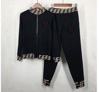 kazak ikiz seti toptan satış-2019 yeni kadın tasarım moda F harfi baskı örme standı yaka kazak ceket ve uzun pantolon sonbahar ilkbahar twinset artı b ...