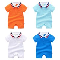 Wholesale toddler striped t shirt resale online - Toddler Boy Clothes Striped Collar Baby Girls Rompers Solid Colors Infant T Shirts Short Sleeve Newborn Jumpsuit Summer Baby Clothing YW3020