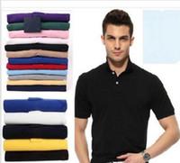 camisetas polo hombre al por mayor-2019 Mens Designer Polos Marca caballo pequeño cocodrilo bordado ropa hombres tela letra polo camiseta cuello camiseta casual camiseta tops