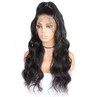 perruque blonde cheveux bouclés achat en gros de-Déchaîne bouclés perruques 10A perruques de cheveux humains 360 complète perruques de cheveux humains dentelle corps 8 « -26 » Droit brésilien Cheveux Eau du Pérou Indien