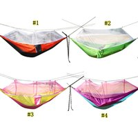 Wholesale tent resale online - Outdoor parachute cloth Sleep hammock Camping Hammock mosquito net anti mosquito portable colorful camping aerial tent MMA1974