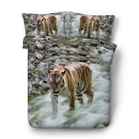 shams travesseiro impressão animal venda por atacado-White Tiger Imprimir Meninos Bedding Sets 3PC Sem Consolador edredon cobrir Set Digital 3D Imprimir 3PCS 1 capa de edredão 2 Pillow Shams animal Vivid