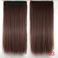 cabelo castanho longo e liso venda por atacado-16 cores 16 clips longa reta sintéticos clipes extensões de cabelo em alta temperatura fibra Preto Brown peruca 03