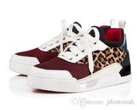 en iyi parti ayakkabıları toptan satış-En iyi Sürüm Kaliteli Erkek Ayakkabı Düşük Sneakers Lüks Kırmızı Alt Sneaker Ayakkabı Aurelien Düz erkek Moda Rahat Açık parti Düğün
