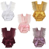 Wholesale girls harnesses for sale - Group buy Baby lace Romper Newborn Slings jumpsuits kids lace bow onesies Summer Solid Color Lace Straps Harness Slings Siamese Climbing Suit