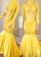 Wholesale vestidos de fiesta resale online - Yellow Long Sleeve Prom Dresses Mermaid High Neck Vintage African Evening Gowns See Through Keyhole Vestidos de fiesta BC1443