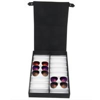 siyah kapak toptan satış-Gözlük vitrinin 16 çift güneş gözlüğü gözlük kutusu için katlanabilir kapaklı Saklama kutusu (Siyah + beyaz)