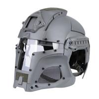 capacete tático nvg venda por atacado-Tactical Ballistic Capacete Side Rail NVG Sudário Transferência Base de Combate Máscara Airsoft Paintball Full Face Helmet