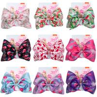 Wholesale halloween cloth children for sale - Group buy Multi Color Jojo Siwa Hair Bows Clips Ribbon Cloth Flamingo Bowknot Hairpin Children Barrette Jewelry Accessories inch gf Ww