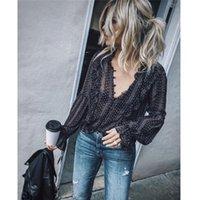 siyah artı boyutu bluzlar toptan satış-Moda Kadın Bluz Gömlek V Yaka Uzun Balon Kol Şifon Saydam Gömlek Siyah Artı Boyutu Seksi bluz elbise