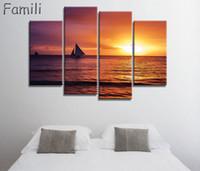 ingrosso pittura di barche art-4 pezzi Frameless Canvas Painting barca a vela Pittura per soggiorno Wall Art Poster e stampe Modern Pictures Decoration