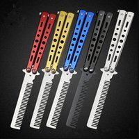 Wholesale red butterfly comb for sale - Group buy Fashion Hot Delicate Pro Salon Stainless Steel Folding Training Butterfly Practice Style Knife Comb Tool LX7468