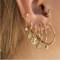 Wholesale coloured studs for sale - Group buy Bohemian Fashion Crystal Star Heart Geometric Gold Colour Hanging Stud Earrings Set Charm Party Jewelry Accessories