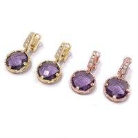 créateurs de bijoux de pierre gemme achat en gros de-Sterling Silver Gemstone PURPL Boucles d'oreilles pour les femmes en argent 925 Boucles d'oreilles ensembles de bijoux design fine pour les femmes
