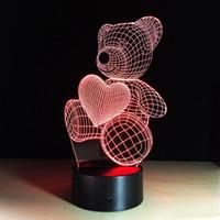 niña de osos de peluche al por mayor-3d Love Teddy Bear 3d Lámpara ilusión óptica Kids Night Light AnimalsTouch mesa Lámparas de escritorio con control remoto para niños niñas regalo de cumpleaños K2647