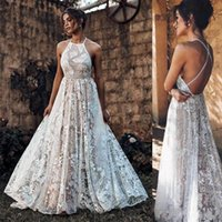 Wholesale halter princess wedding dress for sale - Group buy 2020 New Sexy Backless Lace Beach Wedding Dress Halter Spaghetti Straps Bohemia Vestido De Noiva Cheap Wedding Gowns