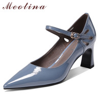 Wholesale shoes cutouts for sale - Group buy Meotina High Heels Women Mary Janes Shoes Natural Genuine Leather Block High Heel Shoes Real Leather Cutout Buckle Lady