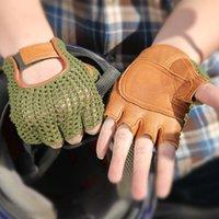 модные рукавицы оптовых-Натуральная кожа полу-палец мужские перчатки половина пальца овчины мода рука назад трикотажные дышащие вождения кожаные перчатки Tb06 MX190817