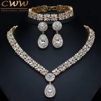 809bafd14734 CWWZircons Exclusivo Dubai Gold Plate Jewellery Cubic Zirconia Collar  Pendiente Pulsera Del Partido Conjunto de Joyas para Mujeres T053 J190521