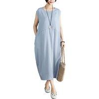 f0c446067b Romacci mujeres vintage flojo vestido largo sin mangas holgada vestido de manga  larga más tamaño algodón lino casual maxi summer dress 2019