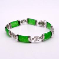 jade pulseira chinês venda por atacado-Natural jade 925 pulseira de prata, pulseira de jade chinês.