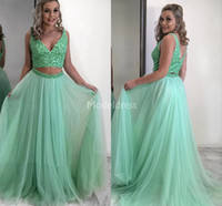 Wholesale latest dress models resale online - Latest Two Pieces Prom Dresses V Neck Open Back Sweep Train Tulle Special Occasion Dresses Formal Party Evening Gowns Hot Vestidos De Fiesta
