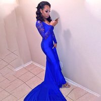 Wholesale spandex dress sleeves resale online - Royal Blue Mermaid Prom Dress Women Lace Long Sleeves Sexy Deep V Neck African Evening Dresses Formal Custom Special Event Gowns