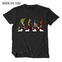 camisetas de algodón superhéroe al por mayor-Camiseta más nueva de verano The Avengers Men T-shirt Avenger Road Superhero T-Shirt 100% algodón de manga corta Tops Tees Brand Designer T Shirt