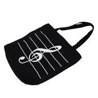 черный мешок покупателя оптовых-Женщины Девушки Повседневная Холст Музыкальные ноты Сумка Tote Shopper Bag Shoulder Handbag черная