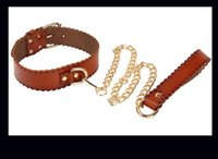 Wholesale leather sex fashions for sale - Group buy New Fashion Brown Genuine Leather SM collar with leash sex toys for women bondage collar SM games sex shop fetish sex tools