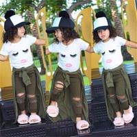 ensembles d'armée achat en gros de-Été nouveau-né bébé fille enfants vêtements Set cils Tops T-shirt + armée Pantalons Leggings Outfits 2 pcs Kids Designer Clothes Girls JY316-U