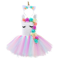 ingrosso vestito di compleanno soffice-Fluffy Bustle Girl Unicorn Tutu Dress con fascia Baby Kids Flowers Unicorno Tema Birthday Party Outfit Pony Costume di Halloween J190709