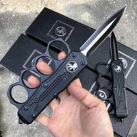 Wholesale New Arrival MT knuckle knife dust collector automatic knife tactical knives double edged satin blade survival edc tools