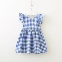 Wholesale puff bow dress online - New Designer Toddler Girls Sweet Square Sleeveless Dress Princess Bow Skirt Summer Fashion Children Clothes Boutiques